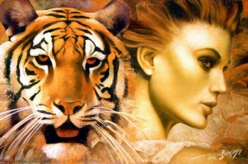 Девушка и тигренок