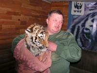 © Алексей Фролов (WWF России). Олег Гриненко, ст. госинпектор Специнспекции «Тигр» с чугуевским тигренком