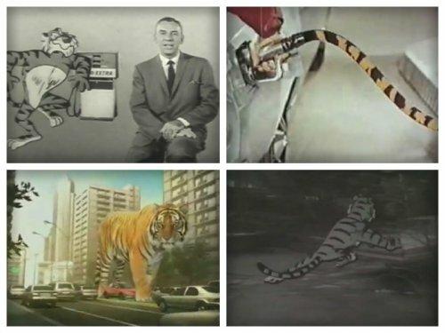 """Рекламные ролики с тиграми """"Esso"""" разных лет"""