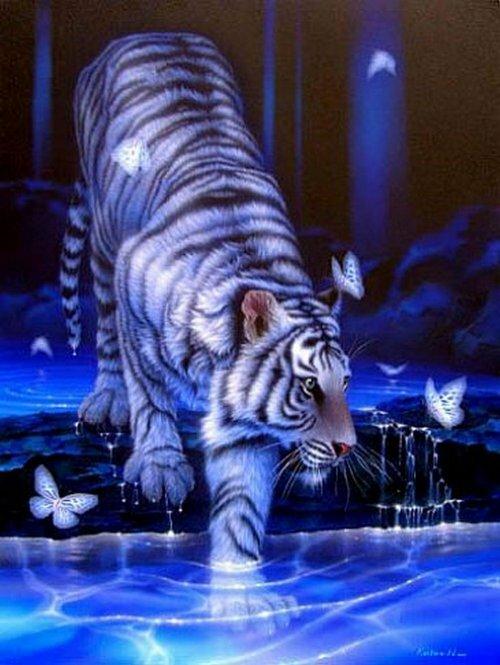 """Схема для вышивки крестом """"Белый тигр"""""""